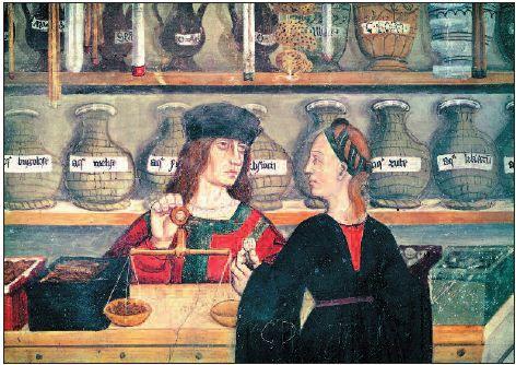 Interior of a pharmacy (fresco), Italian School, 15th century/Castello di Issogne, Val d'Aosta, Italy. 121.JPG (472×334)