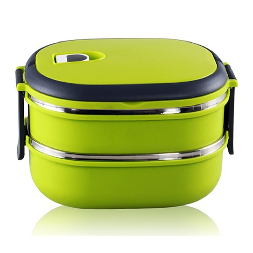 bento boxes hmomi stainless steel interior two tier stacking lunch box with vacuum. Black Bedroom Furniture Sets. Home Design Ideas