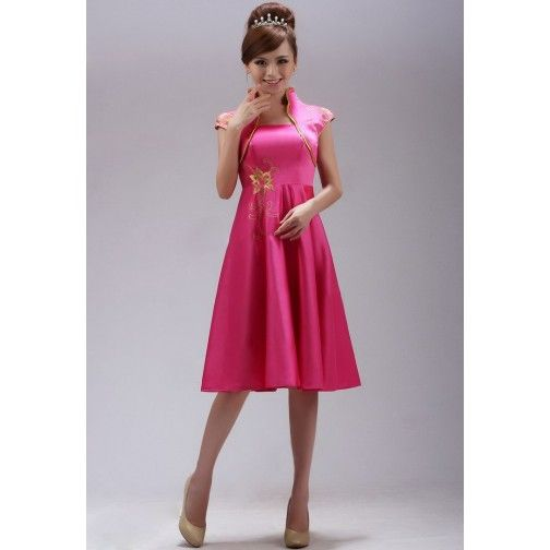 59a72f41c1 Pink Taffeta Floral Embroidery Mini Chinese Style Prom Dress