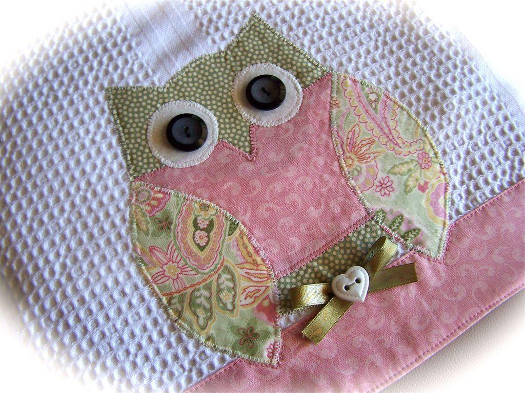 darling appliqued owl tea towel for kitchen. | owl kitchen
