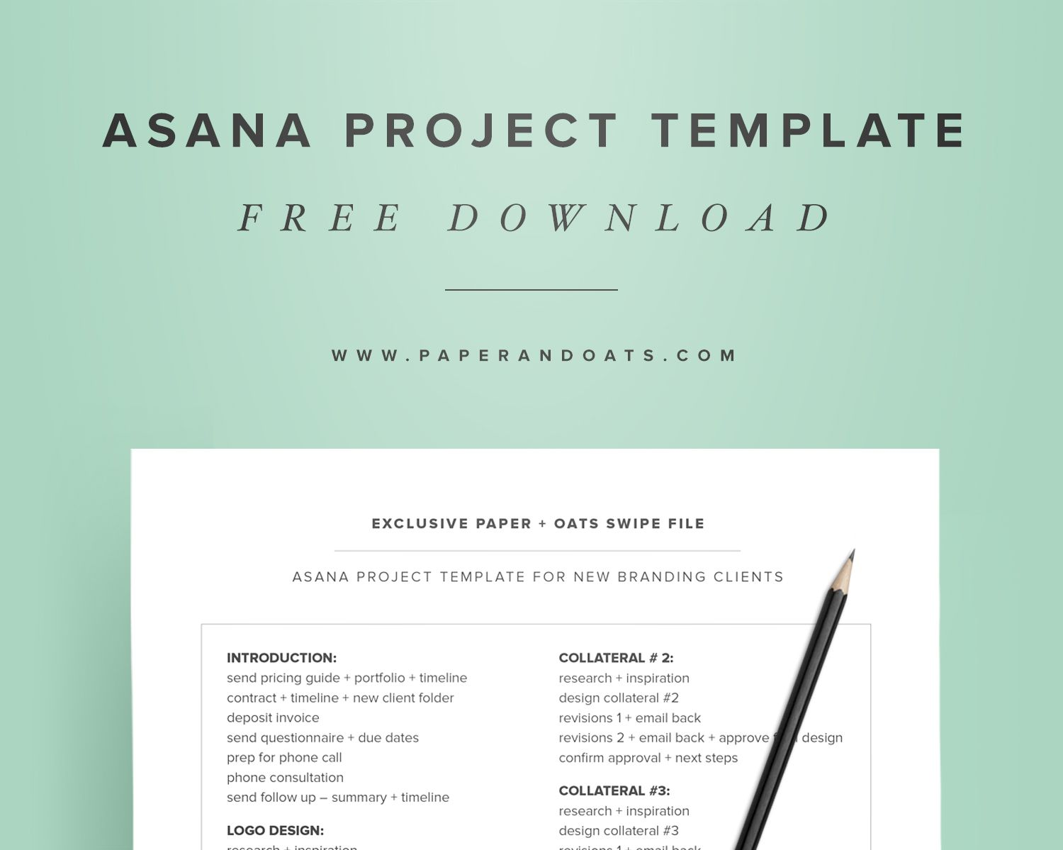 Free Download  Asana Project Template From Paper  Oats  Free
