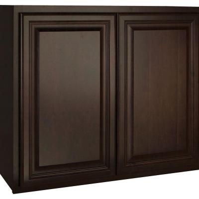 Hampton Bay 36x30x12 In Cambria Wall Cabinet In Java Kw3630 Cjm The Home Depot Wall Cabinet Base Cabinets Dark Kitchen Cabinets