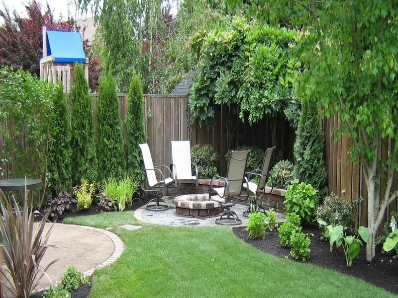 Small backyard landscape in the corner back gardens and for Back garden landscaping ideas