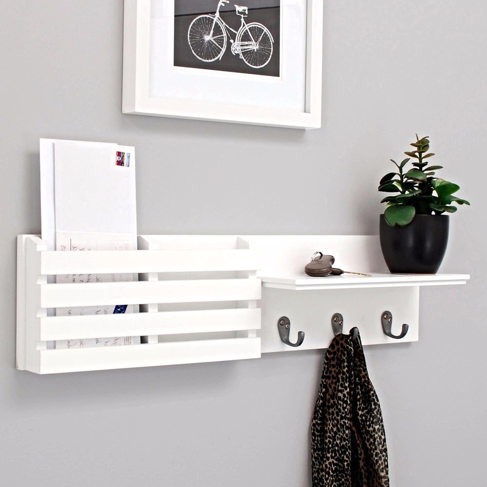 Nexxt sydney wall shelf and mail holder with 3 hooks 24 inch by 6 inch white breezeway finals - Wooden letter holder wall mount ...