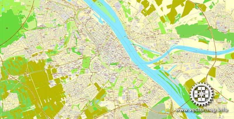 Vector Map Mainz Wiesbaden Germany printable vector street map