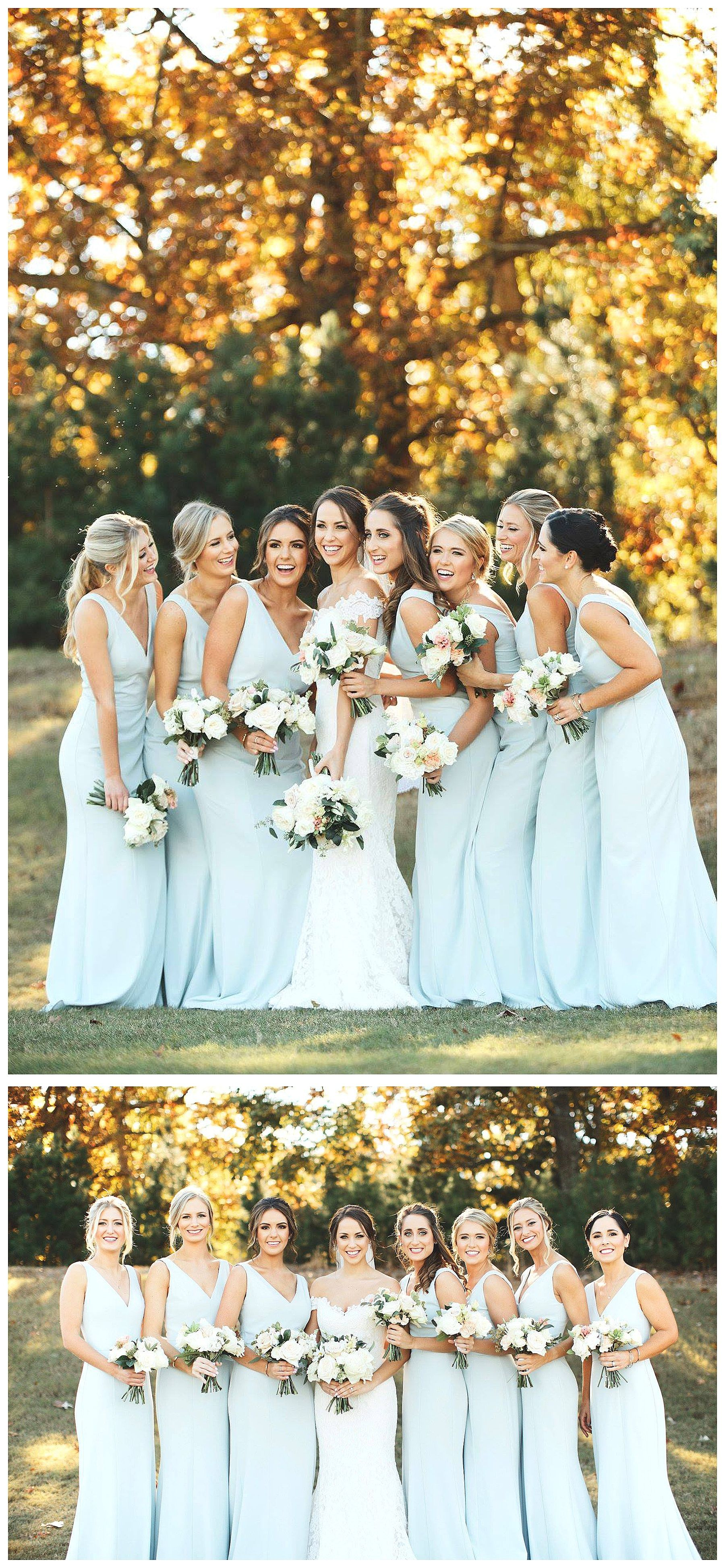Destination Lake Wedding at Lake Lanier Islands. Light Blue Bridesmaids dresses with stunning white and green bridesmaids bouquets by Wrennwood Design. #weddingbridesmaidbouquets