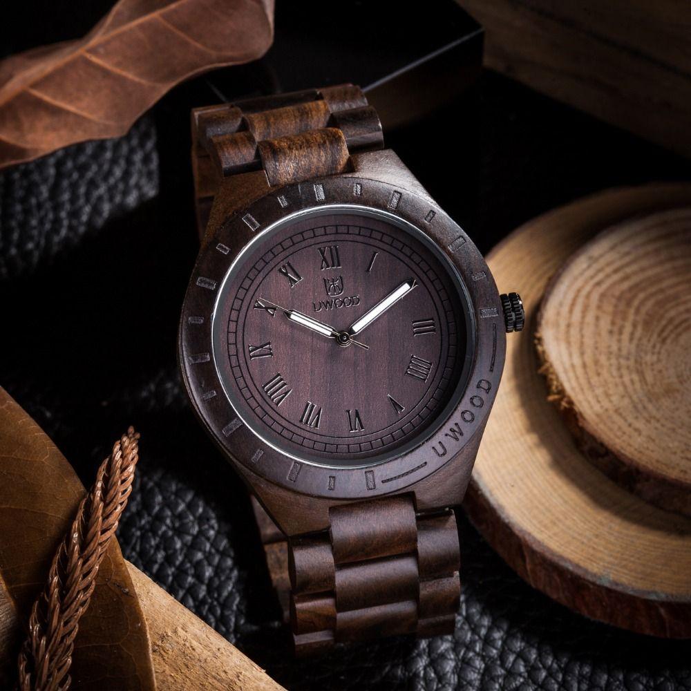 Top Luxury Brand Casual Quartz Bamboo Men's Wooden