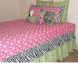 Girl Bedroom Ideas Zebra Purple girls lime green and hot pink peace sign zebra bedding set