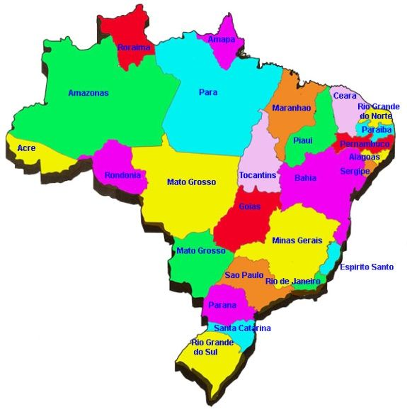 Brazil map of states Brazil Pinterest Brazil Capital city and