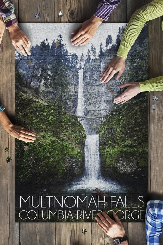Multnomah Falls, Oregon - Wide Angle (20x30 Premium 1000 Piece Jigsaw Puzzle, Made in USA!) #wideangle