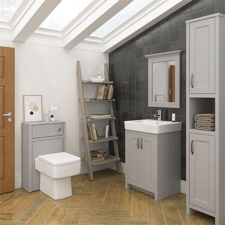 Chatsworth 3 piece traditional grey bathroom suite grey for Tiny 3 piece bathroom
