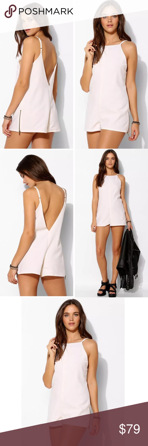 """STONE COLD FOX DEEP V BACK ROMPER size 1 xs small Drapey, soft woven romper from LA label Stone Cold Fox in soft woven poplin with a daring, deep v-back and zip accents along the legs. Cut in a relaxed, comfy fit with a v-neck and adjustable straps. Fully lined. The vision of two childhood friends, Stone Cold Fox believes in quality over quantity and romantically-inspired pieces. $158 retail new no price tag perfect condition   Size 1 (xs/small): armpit to armpit 17.5"""", inseam 2"""", length…"""