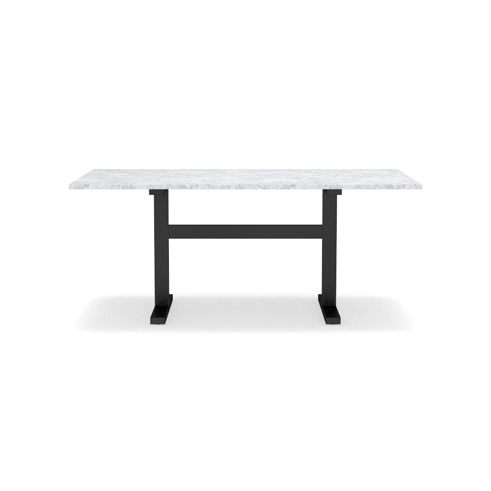 Mercer Rectangular Dining Table Large 72 Carrara Marble Top Bronze Base Williams Sonoma Marble Top Dining Table Dining Table Marble Dining Table