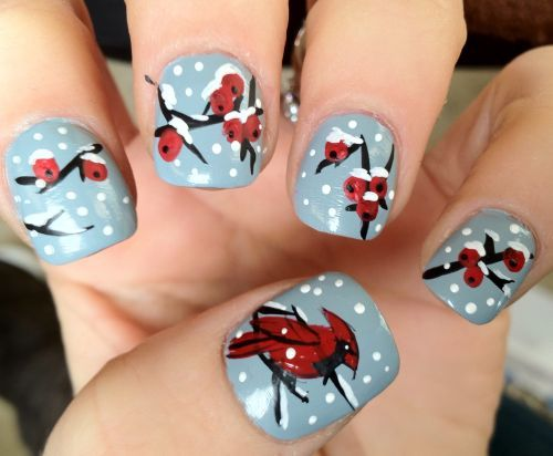 #Christmas #Holiday Red Cardinal and Holly in the Snow Nail Art Designs