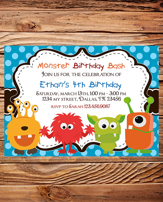 Monsters Birthday Party Invitation BOY GIRL By StellarDesignsPro 2000