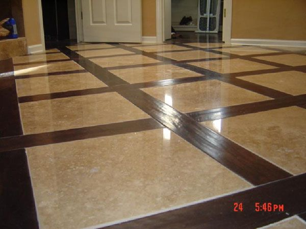 Beautiful Walnut Hardwood And Travertine Flooring Flooring Wood Floors Inlay Flooring