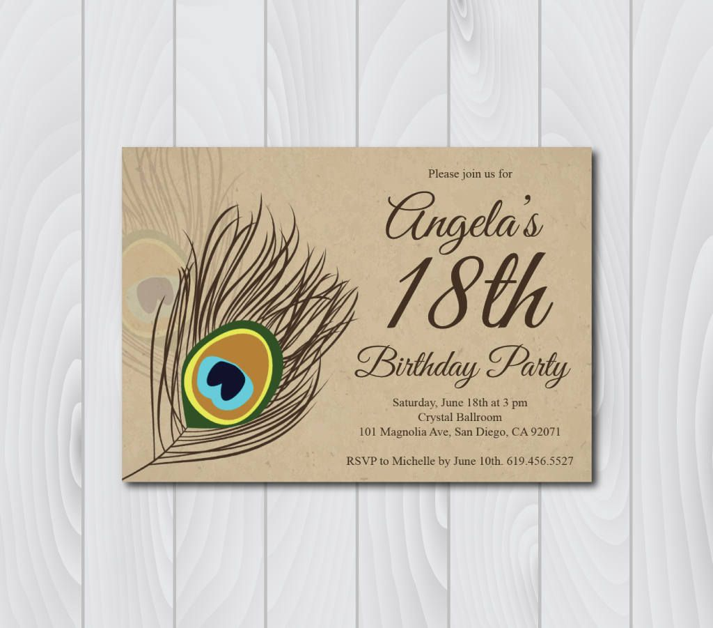 18th Birthday Invitation Printable Vintage E Card Template Eighteenth Peacock B Day By