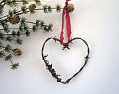 Christmas in July Heart Ornaments Christmas ornaments Rustic Christmas Wedding decor wedding favor Cowboy barbed wire heart