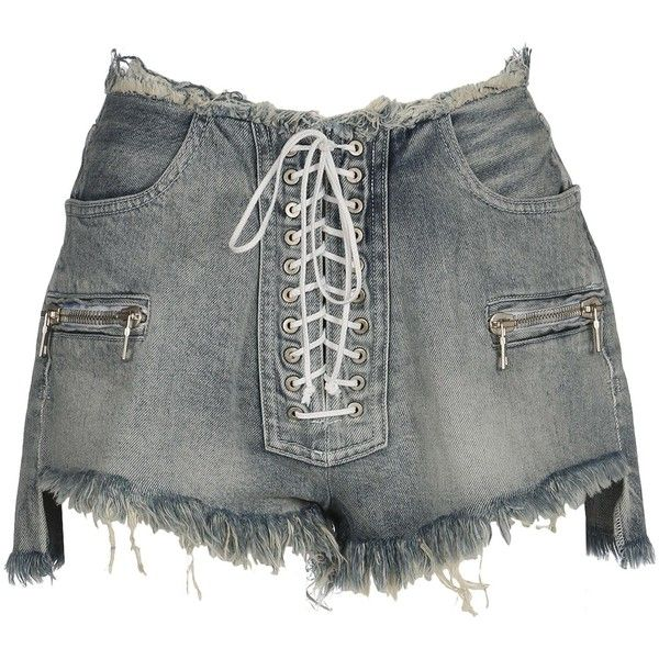 9e2c7b9fb2 Unravel Project Lace Up Denim Shorts ($580) ❤ liked on Polyvore featuring  shorts, blue light, lace up shorts, zipper pocket shorts, jean shorts, denim  ...