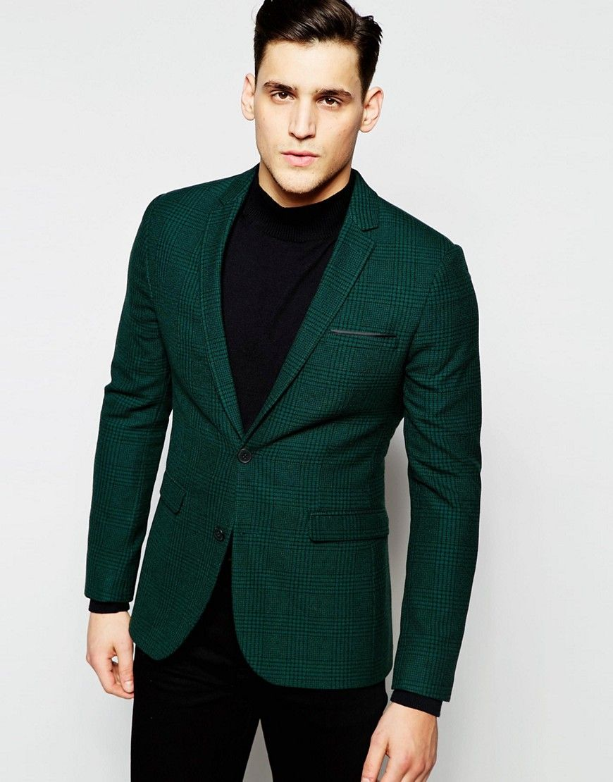 blazer super skinny carreaux prince de galles vert. Black Bedroom Furniture Sets. Home Design Ideas