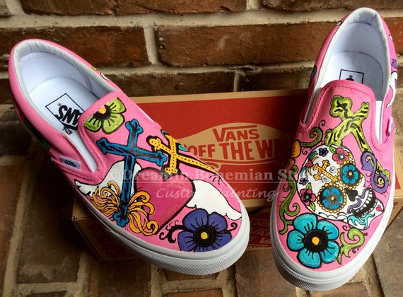 da304a43553f88 Hand Painted Day of the Dead Custom Vans Slip on Shoes