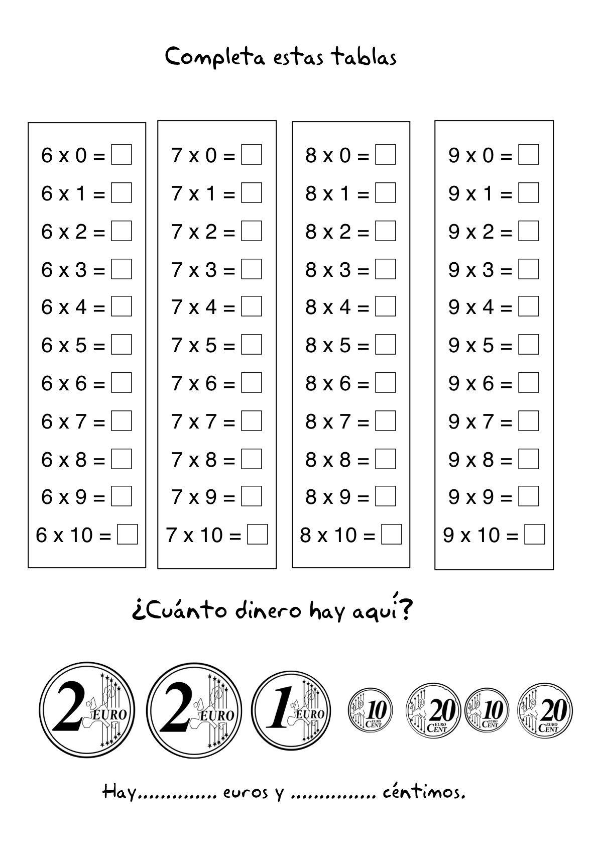 tablas de multiplicar ejercicios para resolver  Buscar con Google