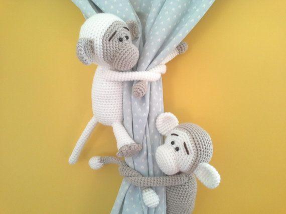 Gray monkey curtain tie back nursery crochet by niceandcosee Wzory ... | 428x570