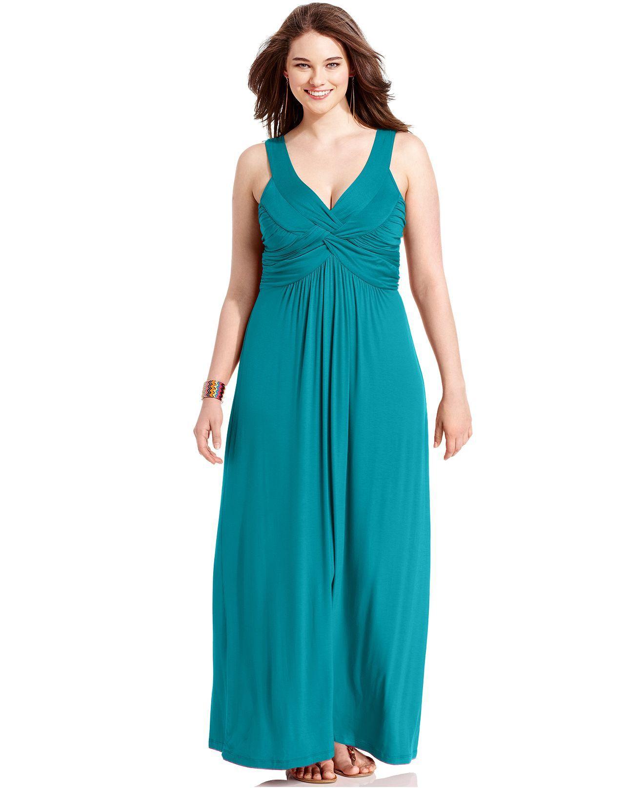 ING Plus Size Dress, Sleeveless Ruched Maxi - Plus Size Dresses ...
