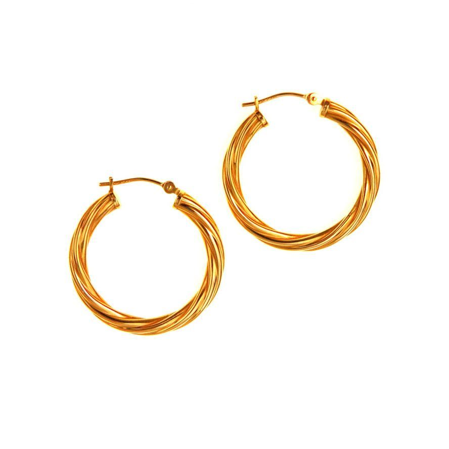 14k Gold Twisted Rope Hoop Earrings