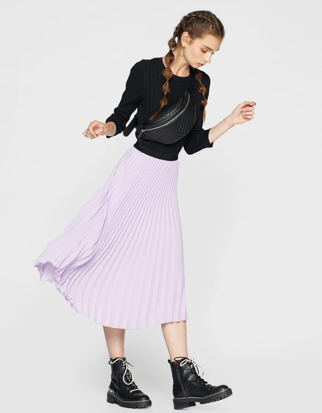 7eb42a0bc6 Falda plisada cintura elástica - Nuevo | Stradivarius España - Islas  Canarias Elastic Waist Skirt,