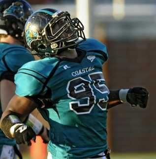 Coastal Carolina Defensive End Quinton Davis Celebrates After Tackling Stony Brook Running Back Coastal Carolina Football Brooks Running