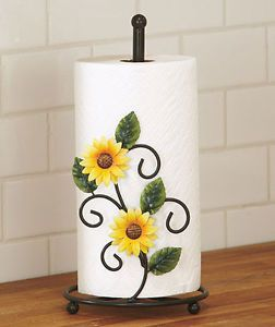 sunflower kitchen decor | SUNFLOWER-PAPER-TOWEL-HOLDER-KITCHEN-TABLE-COUNTER-HOME-COUNTRY-GREEN ...