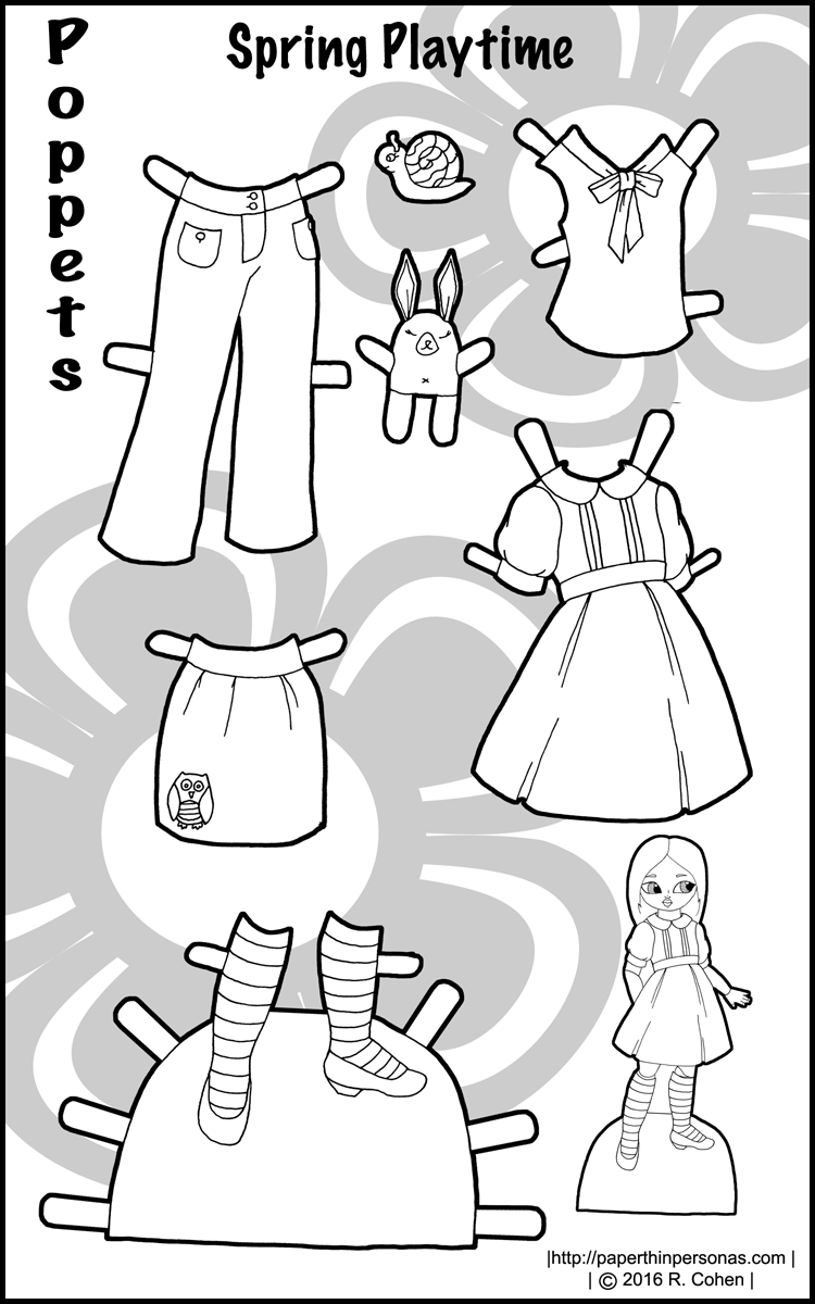 A colorful set of paper doll clothing for the Poppets A