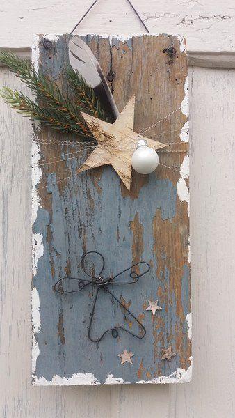 Weihnachtsdeko - Schild Drahtengel  - ein Designerstück von HausNo7 bei DaWan #rustikaleweihnachten