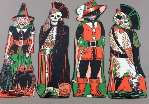 Orig-Vintage-Halloween-Decorations-4-Set-Luhrs-Die-Cut-17-18-NOT - halloween decorations vintage