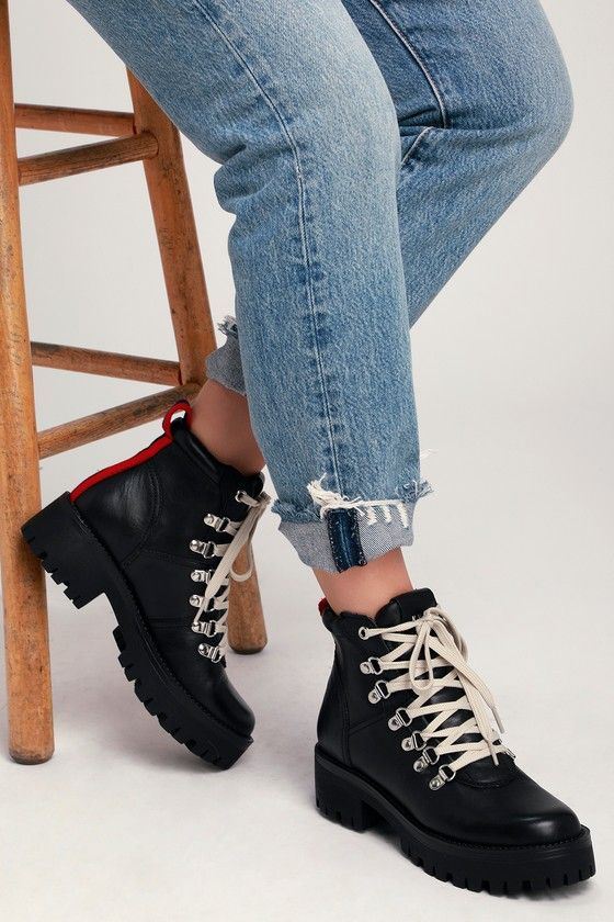 dbfe5283610 Bam Black Leather Lace-Up Combat Ankle Boots in 2019   Shoes   Black ...