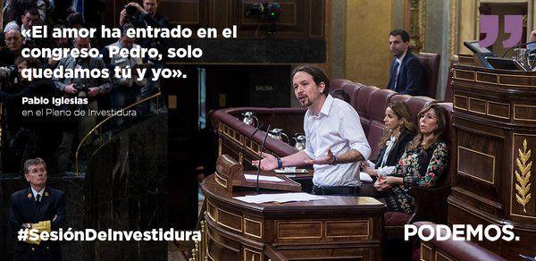 """PODEMOS (@ahorapodemos) twitteó a las 7:50 p. m. on vie, mar 04, 2016: """"A partir de esta noche, tenemos la mano tendida"""" @Pablo_Iglesias_ #SesiónDeInvestidura"""