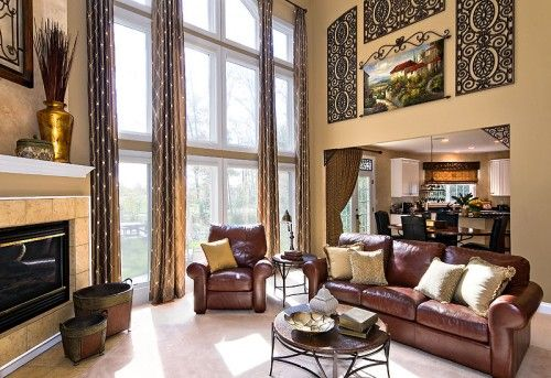 High ceiling big windows great room wall art for that - How to decorate high walls with cathedral ceiling ...