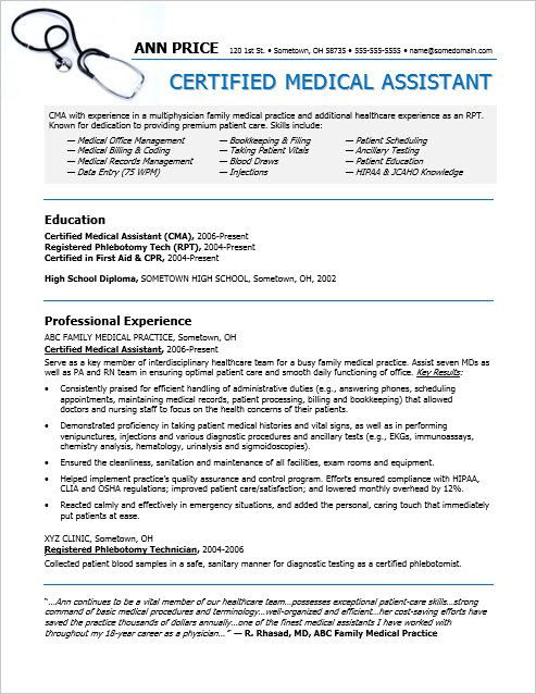 Sample resume for a medical assistant Pinterest Medical