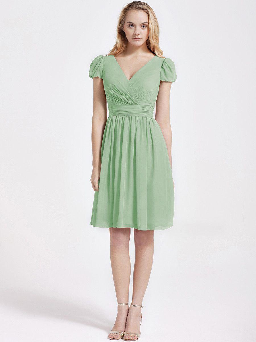 many colours bubble sleeve chiffon bridesmaid dress plus and