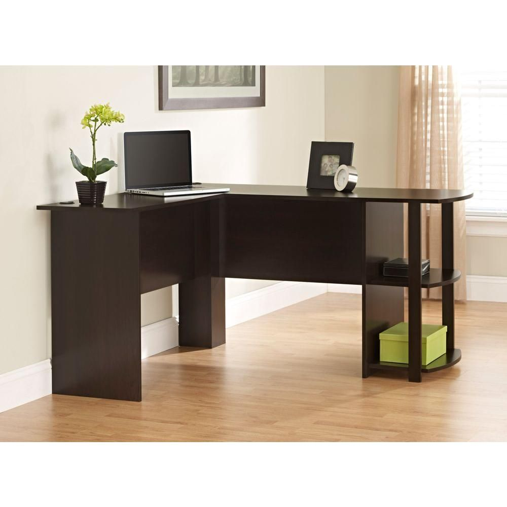 l shaped desk in dark russet cherry