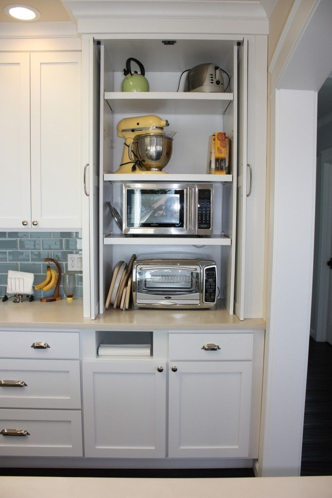 ideas for a hidden appliance cupboard....