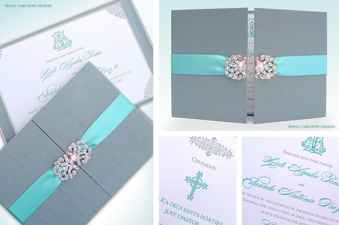 Tiffany blue and pink wedding | Hardcover Wedding Invitation ...