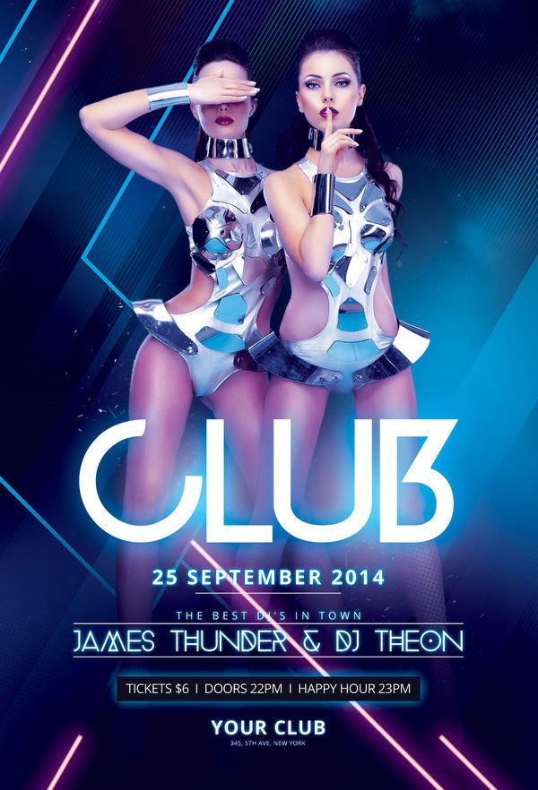 Club Flyer Pinterest Flyer Design Templates Party Poster And