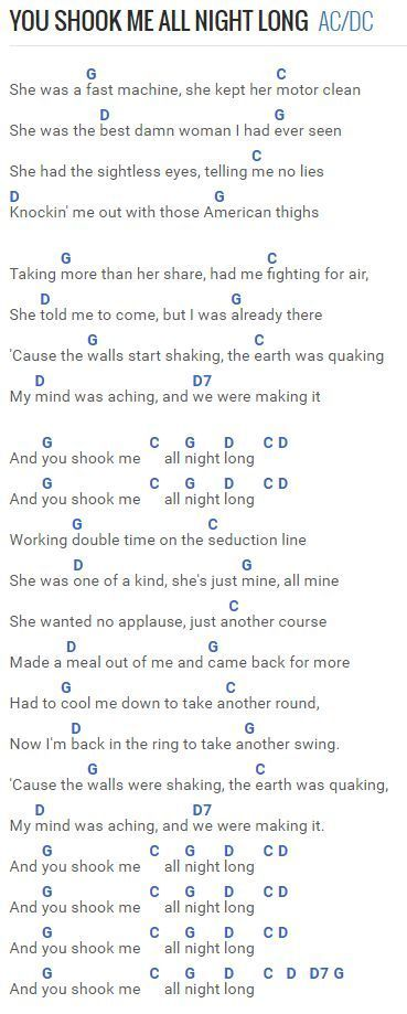 You Shook Me All Night Long - AC/DC at Chordie.com | Guitar Chords ...