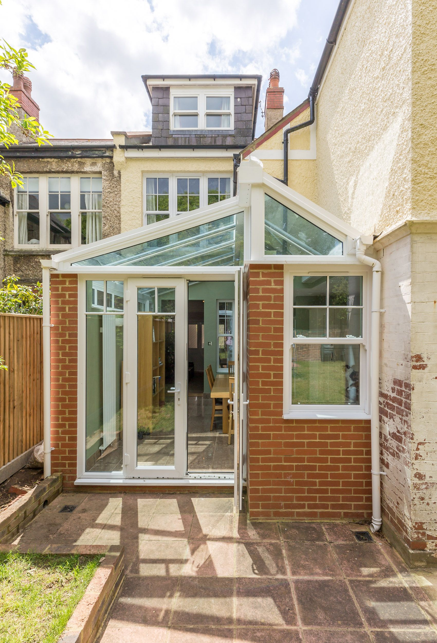 finish to pitched roof side extension | glass roof | gable glazing