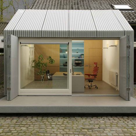 Dutch Studio Architecten En En Have Created A Home Office In Eindhoven By Wrapping A Garage In Corrugated Alum Garage Decor Garage Conversion Home Office Space