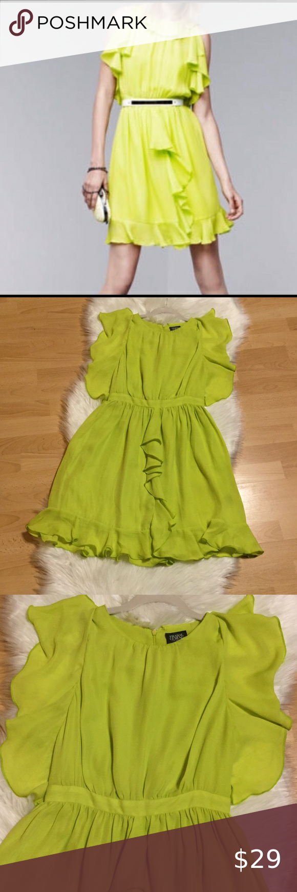 Praball Gurung For Target Green Dress W Ruffles First Photo Is To Show How The Dress Was Originally As Lace Arou Green Dress Clothes Design Red Ruffle Dress [ 1740 x 580 Pixel ]