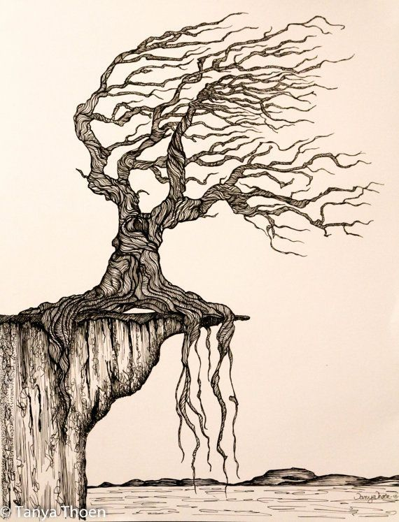 Ink Drawing Aged To Perfection Wind Blown Tree Poised On A Cliff