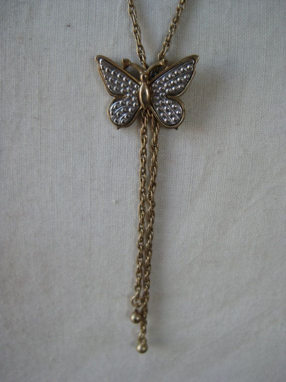 Butterfly Silver Gold Necklace Dangle by vintagejewelryalcove, $7.50